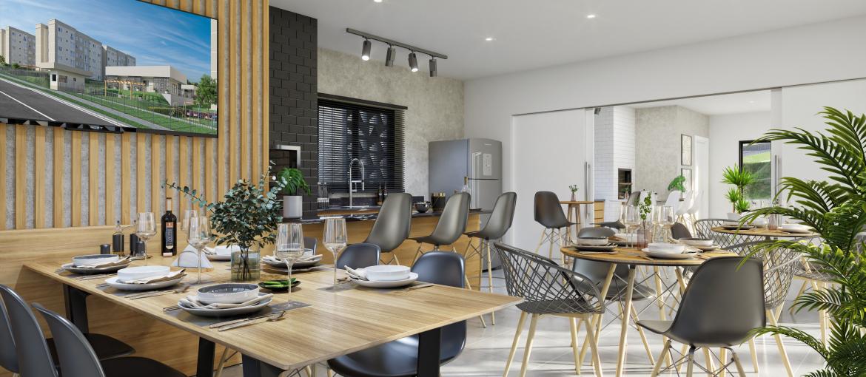Salão gourmet duplo integrável, decorado e mobiliado.