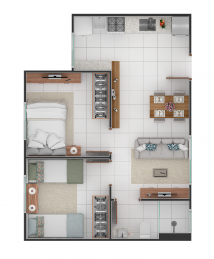 Planta interna: 50,23 m²